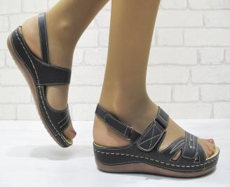 Дамски сандали естествена кожа черни RBUZ-23528