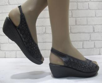 Дамски сандали естествена кожа черни XUWH-23833