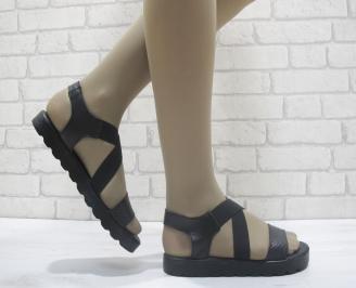 Дамски сандали естествена кожа черни LSJH-23866