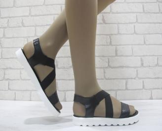 Дамски сандали естествена кожа черни LQYX-23867