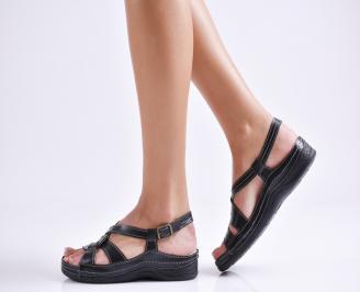 Дамски сандали естествена  кожа черни HVJD-23994