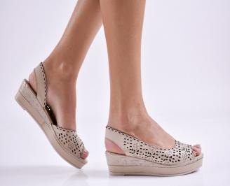 Дамски сандали естествена кожа бежови QFBM-27444