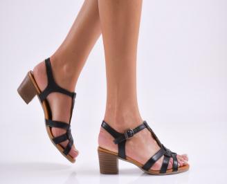 Дамски сандали  естествена кожа черни SUDQ-27490