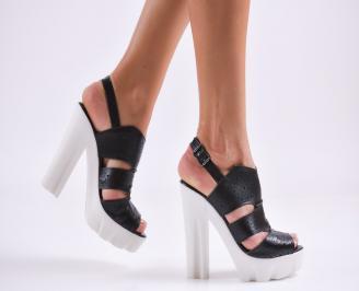 Дамски сандали  естествена кожа черни TNGN-27493