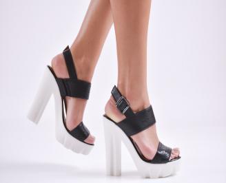 Дамски сандали  естествена кожа черни JCPG-27632