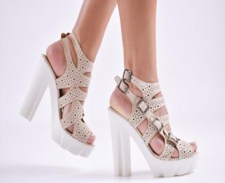 Дамски сандали  естествена кожа бежови VKHB-27633
