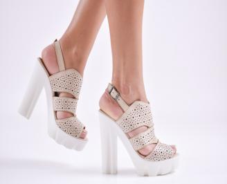 Дамски сандали  естествена кожа бежови VKED-27635