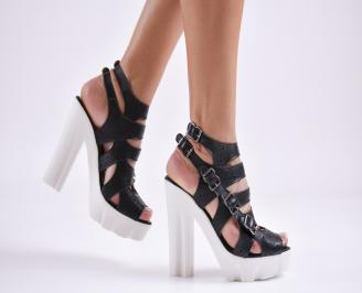 Дамски сандали  естествена кожа черни QRFK-27638
