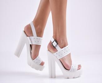 Дамски сандали  естествена кожа бели AUDV-27640