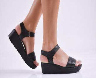 Дамски  сандали естествена кожа черни AXJM-27849