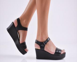 Дамски  сандали естествена кожа черни IXYB-27850