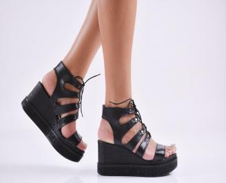 Дамски  сандали естествена кожа черни YJEW-27851