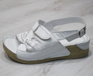 Дамски  сандали  Гигант  бели естествена кожа LSBY-24281