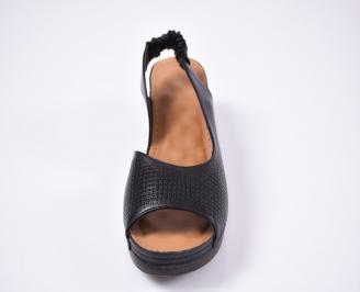 Дамски сандали Гигант  естествена кожа черни CYJI-1012549