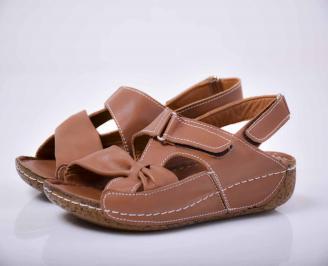 Дамски сандали гигант естествена кожа кафяви  UEGH-1015824