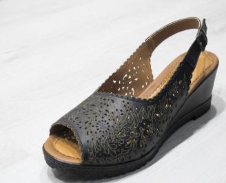 Дамски сандали -Гигант естествена кожа черни LXRZ-24185