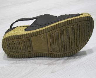 Дамски сандали-Гигант естествена кожа черни XWXN-24280