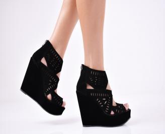 Дамски  сандали на платформа  набук черни WIGC-1011356