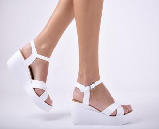Дамски сандали на платформа естествена кожа бели NCUU-1012042
