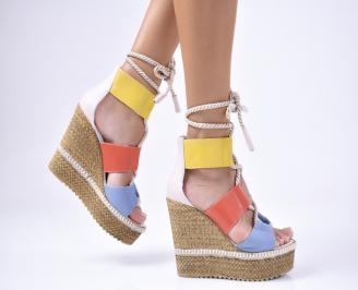 Дамски  сандали на платформа  естествена кожа шарени DCXU-1012200