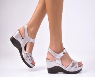 Дамски  сандали на платформа  естествена кожа сребристи KKWU-1012258