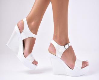 Дамски  сандали на платформа  еко кожа бели EWWC-1012404