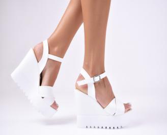 Дамски  сандали на платформа  еко кожа бели NKEK-1012427