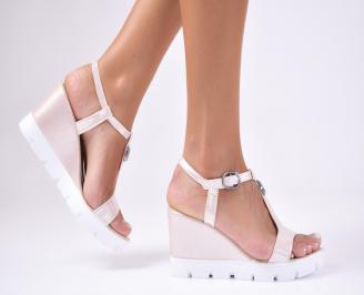 Дамски  сандали на платформа  еко кожа пудра CABB-1012428