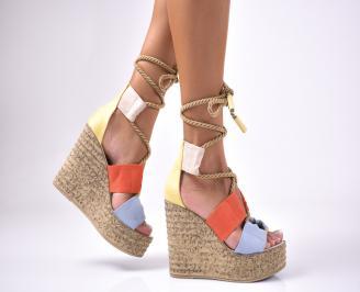 Дамски сандали на платформа велур шарени GCDA-1012608