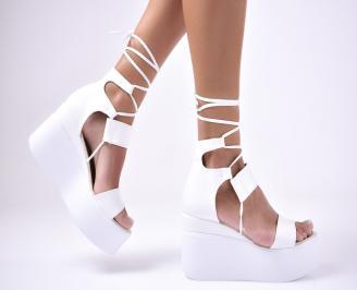 Дамски  сандали на платформа  еко кожа бели MKLV-1012609