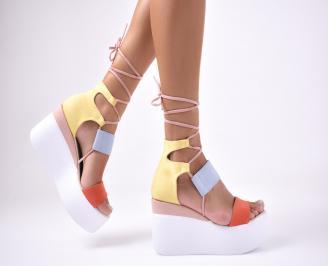 Дамски сандали на платформа велур шарени YKVR-1012614