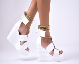 Дамски  сандали на платформа  еко кожа бели RRDA-1012617
