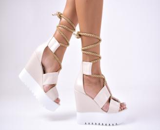 Дамски  сандали на платформа  еко кожа бежови DMDW-1012637