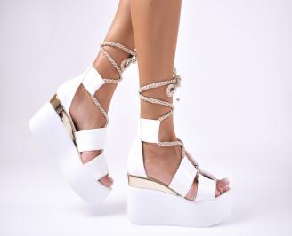 Дамски  сандали на платформа  еко кожа бели WLCX-1012639