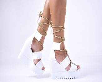 Дамски  сандали на платформа  еко кожа бели ADKT-1012645