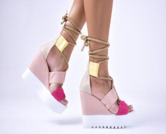 Дамски сандали на платформа велур шарени ECTL-1012646