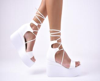 Дамски  сандали на платформа  еко кожа бели REDW-1012674