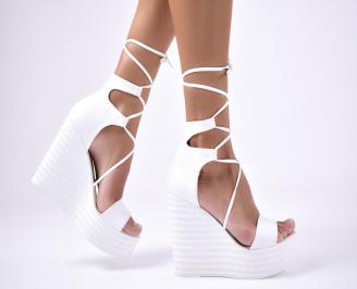 Дамски  сандали на платформа  еко кожа бели EFKC-1012676