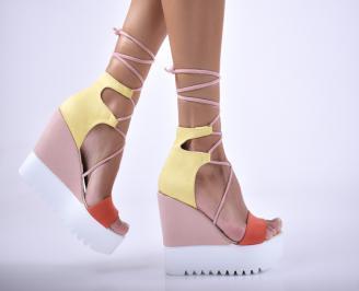 Дамски сандали на платформа набук шарени FMTO-1012679