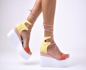 Дамски сандали на платформа велур шарени NFJL-1012686