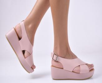 Дамски сандали на платформа  пудра. IQOP-1013949