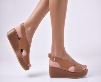 Дамски сандали на платформа  кафяви. TKTQ-1013950