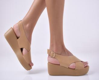 Дамски сандали на платформа  бежови. TEYO-1013951