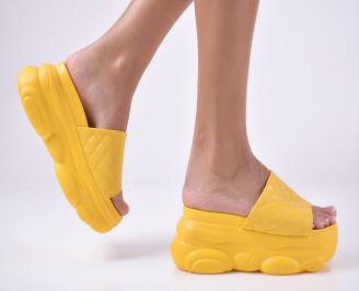 Дамски сандали на платформа жълти SZWB-1013964