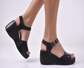 Дамски сандали на платформа естествена кожа черни KFBD-1013978
