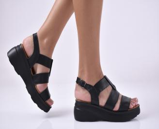 Дамски сандали на платформа естествена кожа черни EMHV-1013979