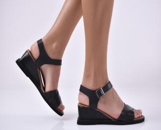 Дамски сандали на платформа естествена кожа черни MIUH-1013982