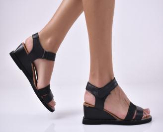 Дамски сандали на платформа естествена кожа черни. BBDT-1013984