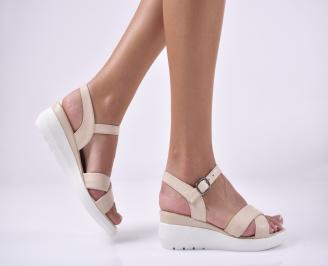 Дамски сандали на платформа естествена кожа бежови LNZJ-1013986