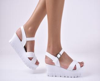 Дамски сандали на платформа естествена кожа бели MPSL-1013987